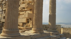Gimbal shot of columns of the erechthion in athens, greece Stock Footage