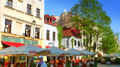 4K Krakow Jewish Quarter, Cafe Patio Restaurants, Famous Poland Landmark Stock Footage