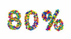 Decorative rainbow colored 80 percent symbol Stock Footage