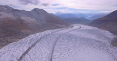 Valais, Switzerland Glacier ascent - Aerial 4K Stock Footage