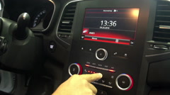 Man using sensory control panel in the car 1 Stock Footage