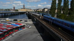 Stockholm - Subway and buses Stock Footage