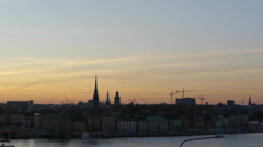 Stockholm at sunset Stock Footage