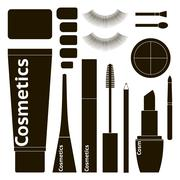 Collection of flat cosmetics Stock Illustration