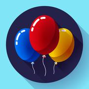 Festive multicolored air balloons icon holiday symbol, birthday party Stock Illustration