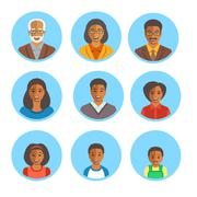 African American family happy faces flat avatars Stock Illustration