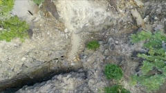Aerial footage of a volcanic fissure, looking straight down. Stock Footage