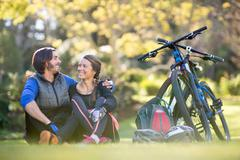 Biker couple relaxing together Stock Photos