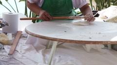 Woman Making Turkish Pancakes Stock Footage