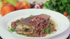 Stewed fish with vegetables Stock Footage