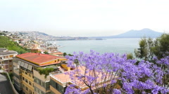 Amazing panoramic view on Naples and Vesuvius volcano in Italy in summer.  Stock Footage