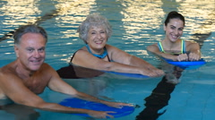 Active seniors at water fitness Stock Footage