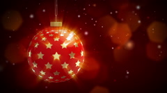 Christmas ball rotates on a background of falling snow Stock Footage