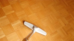 4K Cleaning Parquet With Vacuum Cleaner Stock Footage