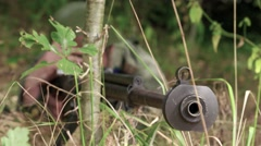 Soldier firing PTRS Anti Tank Rifle Stock Footage