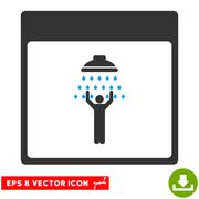Man Shower Calendar Page Vector Eps Icon Stock Illustration