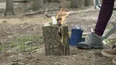 Hiker couple standing near bonfire Stock Footage