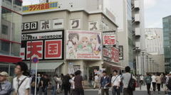 A busy Side Street of Akihabara Electric District, the Otaku Center Stock Footage