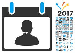 Call Center Manager Calendar Day Flat Vector Icon With Bonus Stock Illustration