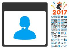 Call Center Manager Calendar Page Flat Vector Icon With Bonus Stock Illustration