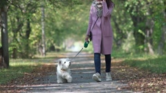 Girl enjoying a stroll in sunny autumn park. Friendship. Devotion Stock Footage