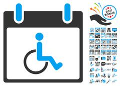 Disabled Person Calendar Day Flat Vector Icon With Bonus Stock Illustration