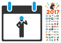 Engineer Calendar Day Flat Vector Icon With Bonus Stock Illustration
