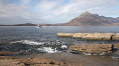 Mountain scenery seascape from the Isle of Skye Stock Footage