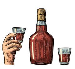 Rum bottle and hand holding glass Stock Illustration