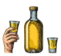 Tequila bottle and hand holding glass Stock Illustration