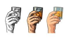 Male hand holding a glass with whiskey and ice cubes Stock Illustration