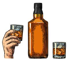 Whiskey bottle and hand holding glass Stock Illustration