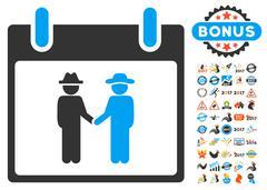 Gemtlemen Handshake Calendar Day Flat Vector Icon With Bonus Stock Illustration