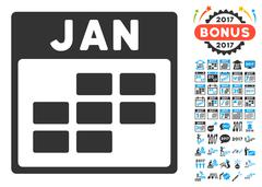January Calendar Grid Flat Vector Icon With Bonus Stock Illustration
