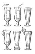 Alcohol cocktail set. Vintage vector engraving illustration Stock Illustration