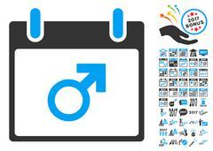 Mars Male Symbol Calendar Day Flat Vector Icon With Bonus Piirros