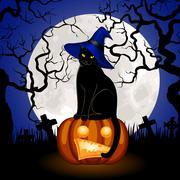 Black cat and pumpkin Piirros