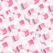 Light background seamless pattern with pink sakura Stock Illustration