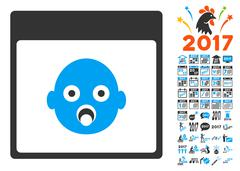 Newborn Head Calendar Page Flat Vector Icon With Bonus Stock Illustration