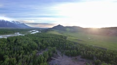 Drone view of mountains and gorgeous sunset in Wyoming Stock Footage