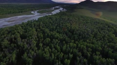 Drone view from tree tops of mountains and river 4 Stock Footage