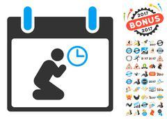 Pray Time Calendar Day Flat Vector Icon With Bonus Stock Illustration