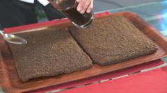 Cakes to tiramisu, pour coffee Stock Footage