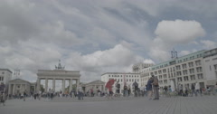 Brandenburg Gate (Brandenburger Tor) Wide - Berlin, Germany - 4K Stock Footage