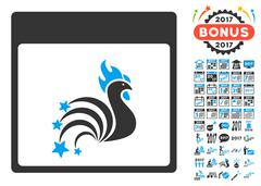 Rooster Fireworks Calendar Page Flat Vector Icon With Bonus Stock Illustration