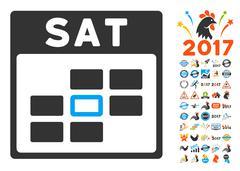 Saturday Calendar Grid Flat Vector Icon With Bonus Stock Illustration