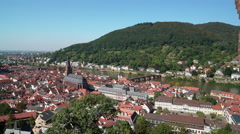 Static shot of Heidelberg and Neckar Bridge Stock Footage