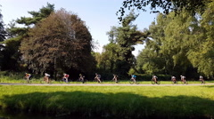 Road racers ride by in long string in forest. Stock Footage