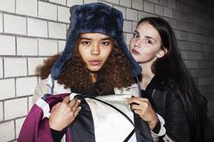 Bad neighborhood influence concept: lifestyle teenage with alcohol abuse Stock Photos