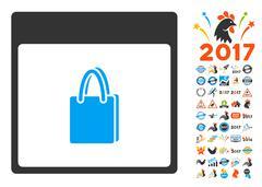 Shopping Bag Calendar Page Flat Vector Icon With Bonus Stock Illustration